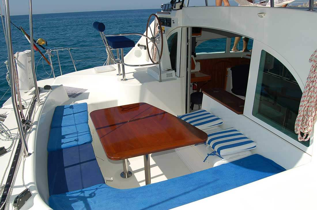 38 FT Lagoon Catamaran - Up to 20 People – (max. 8 to Marieta Islands)-benched-seating-table