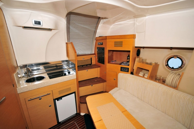 34-FT-Cranchi-Zaffiro-Power-Yacht-Down-Galley-and-Dinette
