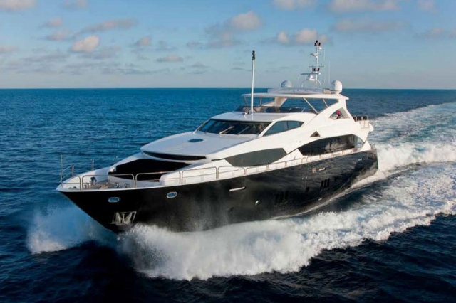 112 ft.-Sunseeker-Power-Yacht - Front-View-on-the-water