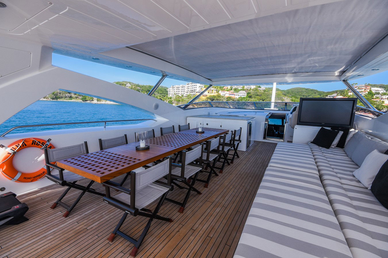 112 ft.-Sunseeker-Power-Yacht - Large-Dining-over-the-fly-w-Sunroof